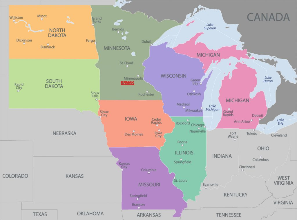 Upper Midwest Map Displaying Ermak's location
